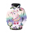 Popular Fashion Floral Cartoon Unicorn Printed Long Sleeve Unisex Casual Loose Hoodie