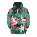 New Stylish Green Plant Flamingo 3D Printed Long Sleeve Unisex Casual Loose Hoodie