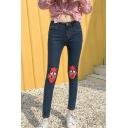Women's Trendy High Waist Cartoon Print Skinny Cropped Jeans