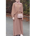 Muslim Round Neck Long Sleeve Plain A-Line Poncho Dress