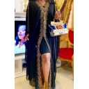 Womens Fashion Hoodie Batwing Sleeve Gold Floral Embellished Slit Chiffon Shift Asymmetrical Maxi Dress