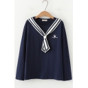 Sweet Girls Stripe Tied Collar Crown Letter Embroidery Loose Leisure Sweatshirt
