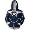 Fashion Star Logo Comic Cosplay Costume Blue Long Sleeve Zip Up Drawstring Hoodie