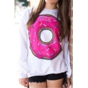 Doughnut Pattern Round Neck Long Sleeve White Pullover Sweatshirt