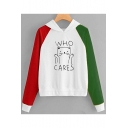 WHO CARES Letter Lovely Cartoon Cat Printed Color Block Long Sleeve Hoodie