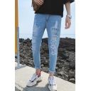 Men's Popular Fashion Light Blue Letter Printed Stretch Relaxed Fit Ripped Jeans