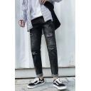 Men's Trendy Plaid Patched Black Straight Slim Fit Trendy Ripped Jeans