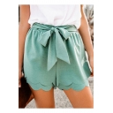 Summer Sweet Chic Plain Bow Waist Tiered Scallop Hem Casual Loose Shorts