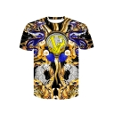 Summer Popular Vintage Mens Short Sleeve Round Neck Tiger Dragon Printed T-Shirt