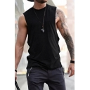 New Arrival Mens Simple Plain Sleeveless Round Neck Pullover Sport Tank Tee