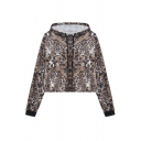 Womens Fancy Khaki Leopard Printed Long Sleeve Pullover Cropped Hoodie