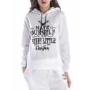 Womens Hot Fashion Christmas Long Sleeve Have Yourself Letter Printed Straight Loose Pullover Hoodie