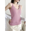 Simple Color Straps Sleeveless V Neck Knitted Fitted Tank T-Shirt