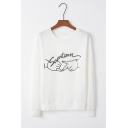 Seventeen Letter Hand Printed Long Sleeve Round Neck Lady Sweatshirt