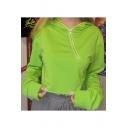 Hot Trendy Plain Long Sleeve Zip Front Cropped Hoodie