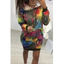 Womens Hot Trendy Long Sleeve Splash Ink Tie Dye Casual Loose Pullover Longline Hoodie