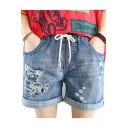 New Arrival Drawstring Cord Rolled Hem Ripped Cat Embroidered Vintage Denim Shorts