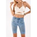New Stylish Summer Blue Stretch Zip Embellished Straight Slim Fit Bermuda Denim Shorts