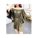 Womens Metallic Color High Waist Off Shoulder Flared Sleeve Ruffle Hem Rompers