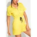 Summer Hot Stylish Yellow Short Sleeve Drawstring Waist Flap Pocket Zipper Front Hooded Rompers