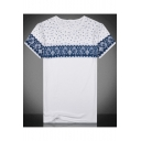 Mens Trendy White Ethnic Style Tribal Printed Short Sleeve Round Neck Straight Tee