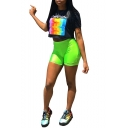 Black Short Sleeve Paranoia Letter Rainbow Printed T Shirt with Green Elastic Waist Sport Shorts Two Piece Set