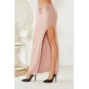 Hot Popular Plain High Waist Self Tie Split Side Slim Fitted Maxi Knitted Skirt