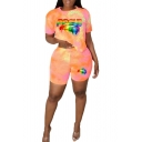 Short Sleeve Multicolor Lip Printed Tee with Elastic Waist Striped Printed Orange Two Piece Set