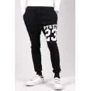 Men's Popular Fashion Letter 23 Printed Drawstring Waist Cotton Sweatpants
