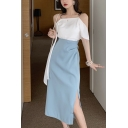 Stylish Blue High Waist Split Side Casual Loose Midi Straight Skirt