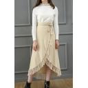 Hot Popular Apricot Tie Waist Fringe Hem Midi Knitted Wrap Skirt