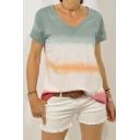 Summer Hot Popular Short Sleeve V Neck Tie Dye Loose Leisure T-Shirt