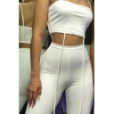 Womens New Trendy Simple Plain Ribbon Crop Cami Top with Skinny Fit Half Shorts Two-Piece Set