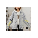 Womens Vintage Light Blue Letter Tape Patched Loose Leisure Ripped Denim Jacket