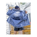 Womens Hot Fashion Vintage Washed Blue Ripped Letter Back Loose Fit Denim Jacket
