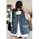 Girls Cool Street Style V-Neck Sleeveless Multi-Pocket Button Front Blue Denim Vest