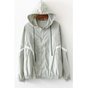 Womens Simple Stripe Printed Long Sleeve Zip Up Hooded Coat Jacket