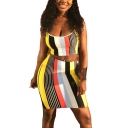 Classic Colorful Stripe Printed Crop Slim Cami Top with Mini Bodycon Skirt Two-Piece Set