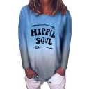 Cool Unique Arrow Letter HIPPIE SOUL Print Long Sleeve Ombre Loose T-Shirt