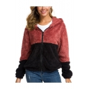 Womens New Trendy Color Block Two-Tone Long Sleeve Hooded Shearling Fluffy Fleece Zip Up Coat