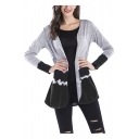 Womens Casual Loose Gradient Color Long Sleeve Open Front Cardigan Coat