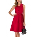 Womens Basic Simple Plain Lapel Collar Sleeveless Tied Waist Button Down Midi A-Line Dress