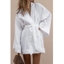 Womens Fancy Plain Bell Long Sleeve Tied Waist Mini Linen Shirt Dress