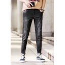 Guys Basic Fashion Simple Plain Stretched Slim Fit Casual Ripped Jeans