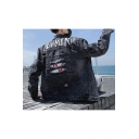 Guys Stylish Vintage Ripped Long Sleeve Letter CALMMIND Print Button Front Casual Black Denim Jacket