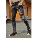 Men's Hot Fashion Letter WHAT IS REAL Printed Distressed Ripped Skinny Biker Jeans