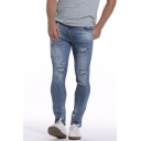 Men's Hot Fashion Embroidered Detail Light Blue Washed Distressed Ripped Jeans