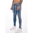Men's Hot Fashion Contrast Stripe Side Slim Fit Distressed Ripped Jeans