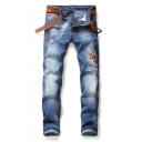 Men's New Fashion Embroidered Blue Stretched Slim Fit Acid Wash Jeans