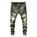 Mens Popular Fashion Solid Color Regular Fit Trendy Acid Wash Jeans